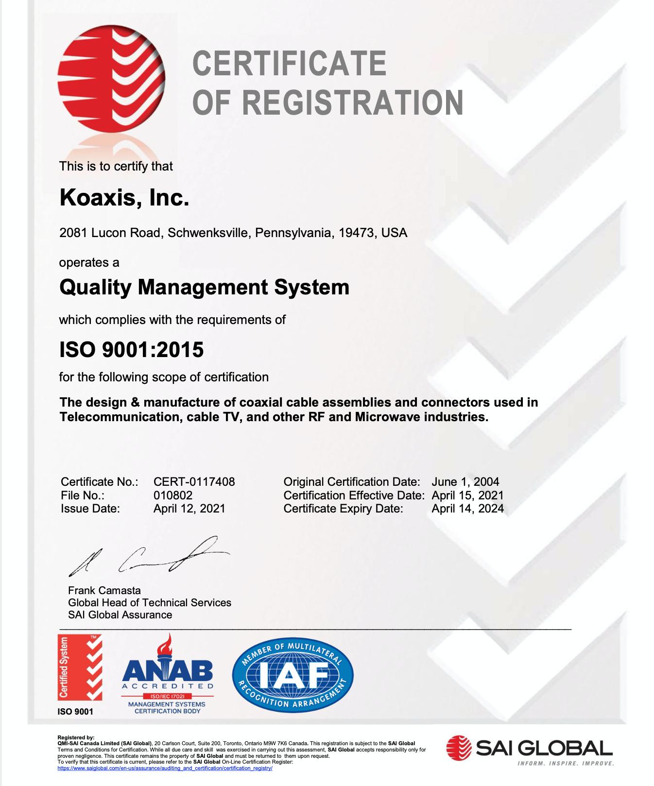 sai global iso 9001 2015 certificate koaxis